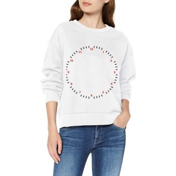 Time Flies Custom Women's White Crew Neck Sweater