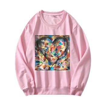 Abstract Art Custom Women's Pink Crew Neck Sweater