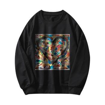 Abstract Art Custom Women's Black Crew Neck Sweater