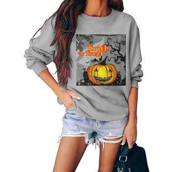 Trick Or Treat Custom Women's Gray Crew Neck Sweater