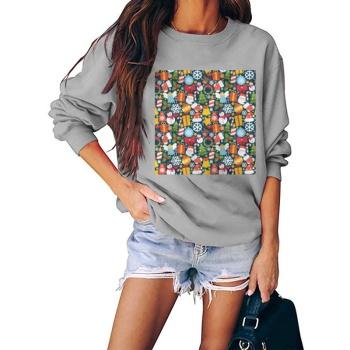 Christmas Kid Jigsaw Puzzle Custom Women's Gray Crew Neck Sweater