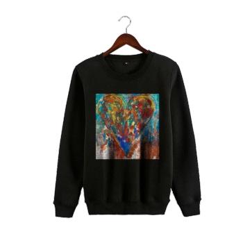 Abstract Art Custom Man's Black Crew Neck Sweater