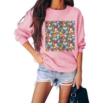 Christmas Kid Jigsaw Puzzle Custom Women's Pink Crew Neck Sweater