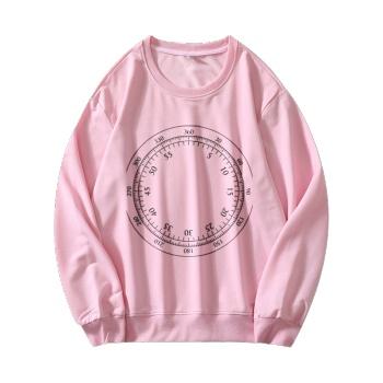 Time Flies Custom Women's Pink Crew Neck Sweater