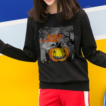 Trick Or Treat Custom Women's Black Crew Neck Sweater