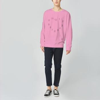 Race Against The Clock Custom Man's Pink Crew Neck Sweater