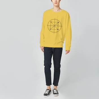 Round Sky And Square Earth Custom Man's Yellow Crew Neck Sweater