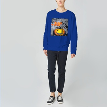 Trick Or Treat Custom Man's Blue Crew Neck Sweater