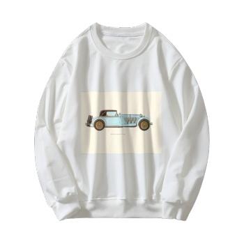 Retro Cars Custom Women's White Crew Neck Sweater