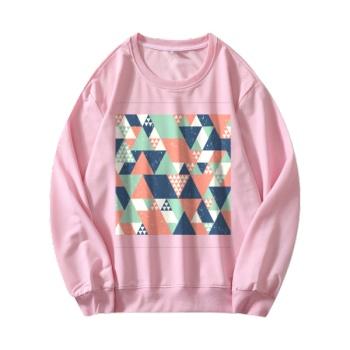 different perspectives Custom Women's Pink Crew Neck Sweater