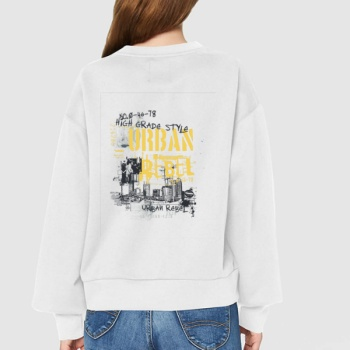 UBBAN PEBLE Custom Women's White Crew Neck Sweater