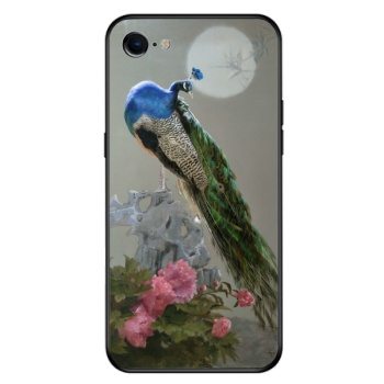 Peacock Custom Toughened Phone Case For Iphone 8