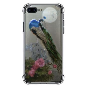 Peacock Custom Transparent Phone Case For Iphone 8 Plus