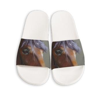 Horse Custom Slippers White