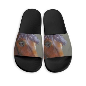 Horse Custom Slippers Black
