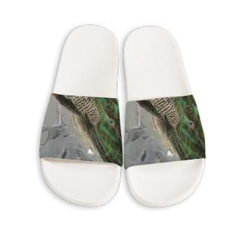Peacock Custom Slippers White
