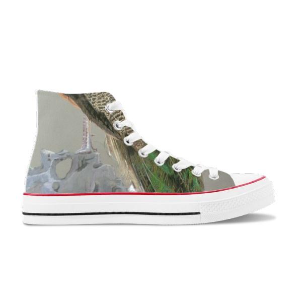 Peacock Custom High Top Canvas Shoes White
