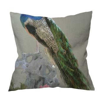 Peacock Custom Flax Pillowcase