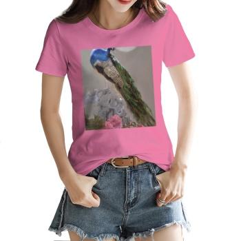 Peacock Custom Women's T-shirt Pink