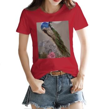 Peacock Custom Women's T-shirt Red