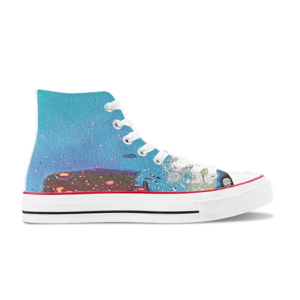 City lights Custom High Top Canvas Shoes White