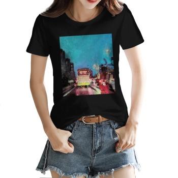 City lights Custom Women's T-shirt Black