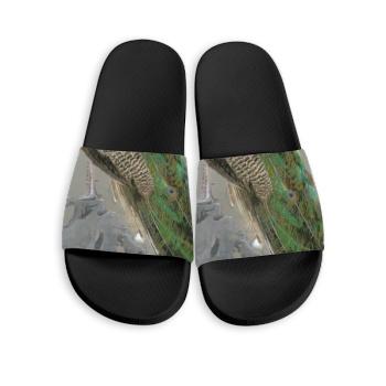 Peacock Custom Slippers Black