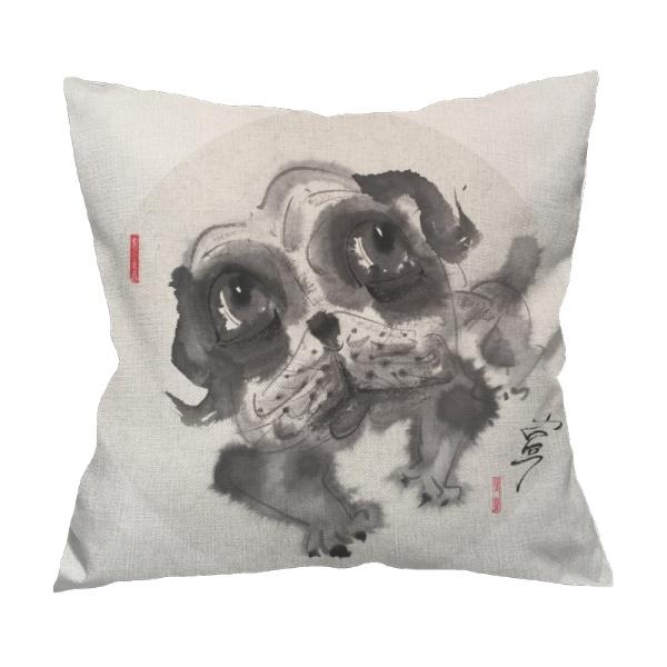 Big eyes dog 3 Custom Flax Pillowcase
