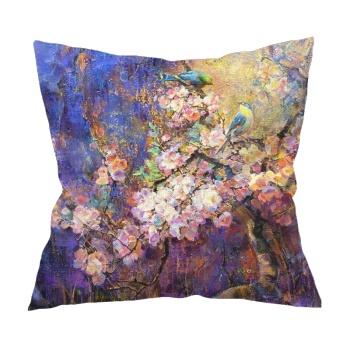 Birds and flowers 1 Custom Flax Pillowcase