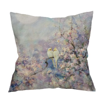 Chating under the moon Custom Flax Pillowcase