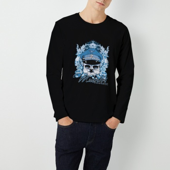 muertos captions Custom Men's Round Neck Long Sleeve T-shirt Black