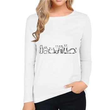 Cartoon cat Custom Women's Long Sleeve T-shirt White