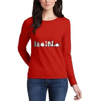 Cartoon cat Custom Women's Long Sleeve T-shirt Red