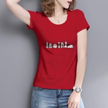 Cartoon cat Custom Women's T-shirt Red