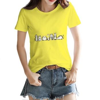 Cartoon cat Custom Women's T-shirt Yellow