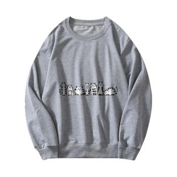 Cartoon cat Custom Women's Gray Crew Neck Sweater