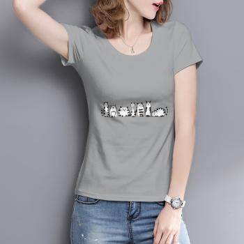 Cartoon cat Custom Women's T-shirt Gray