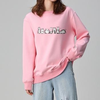 Cartoon cat Custom Women's Pink Crew Neck Sweater