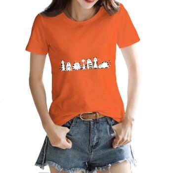 Cartoon cat Custom Women's T-shirt Orange
