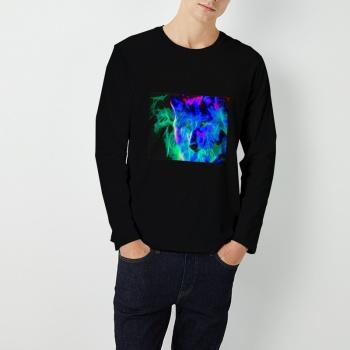 Neon Wolf Wolves Custom Men's Round Neck Long Sleeve T-shirt Black