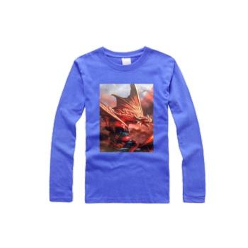 Tox Fire Dragon Custom Men's Round Neck Long Sleeve T-shirt Bright Sapphire Blue