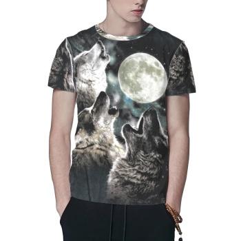 Wolf Wolves Howling Moon Custom All Surface  Men's T-shirt