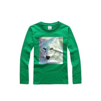 Victoriasmoon Wolf Custom Men's Round Neck Long Sleeve T-shirt Bright Grass Green