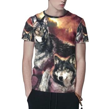 Wildlife Wolves Custom All Surface  Men's T-shirt
