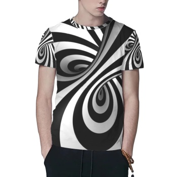 Black And White Optical Illusion Stripes Custom All Surface  Men's T-shirt