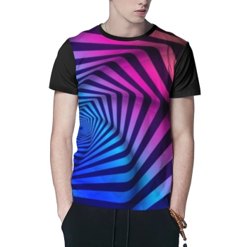 Psychedelic Twisted lines Custom Men's Crew-Neckone T-shirt