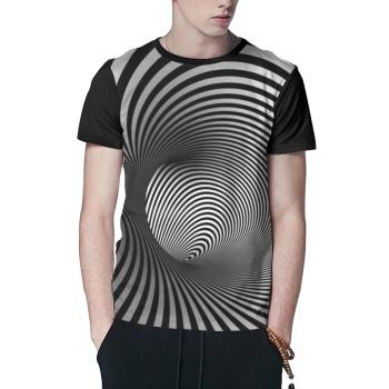 Gradient Optical Illusion Stripes Custom Men's Crew-Neckone T-shirt