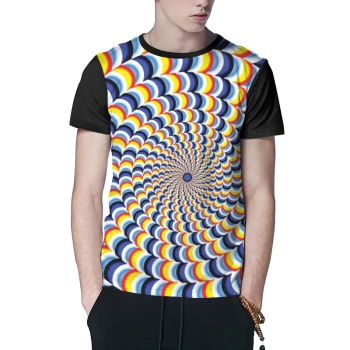 Psychedelic Stripe Custom Men's Crew-Neckone T-shirt