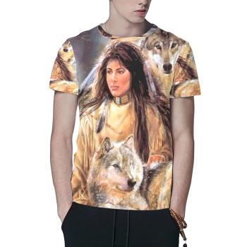 Girl With Husky Custom All Surface  Men's T-shirt