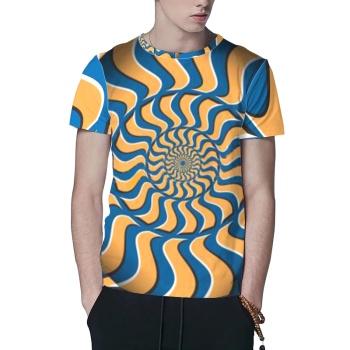 Psychedelic Blue Orange Stripes Custom All Surface  Men's T-shirt